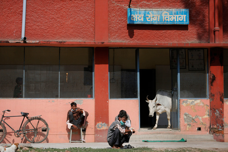 . In this Monday, Feb. 3, 2014 photo, Indian patients with tuberculosis (TB) sit in the sun as a cow walks out of the TB department of Lal Bahadur Shastri Government Hospital at Ram Nagar in Varanasi, India. (AP Photo/Rajesh Kumar Singh)