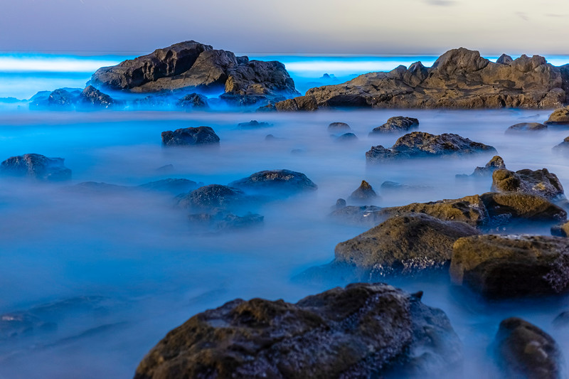 Beautiful Blue Bioluminescence at Scripps Coastal Reserve.