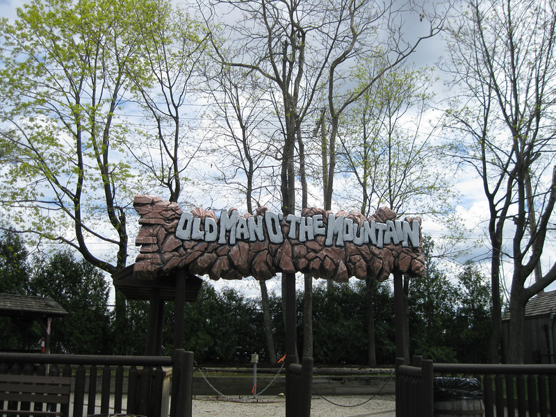 Old Man of the Mountain sign, with the rock wall removed.
