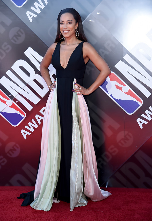 . Angela Rye arrives at the NBA Awards on Monday, June 25, 2018, at the Barker Hangar in Santa Monica, Calif. (Photo by Richard Shotwell/Invision/AP)