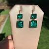 Georgian Double Drop Emerald Paste Earrings 12