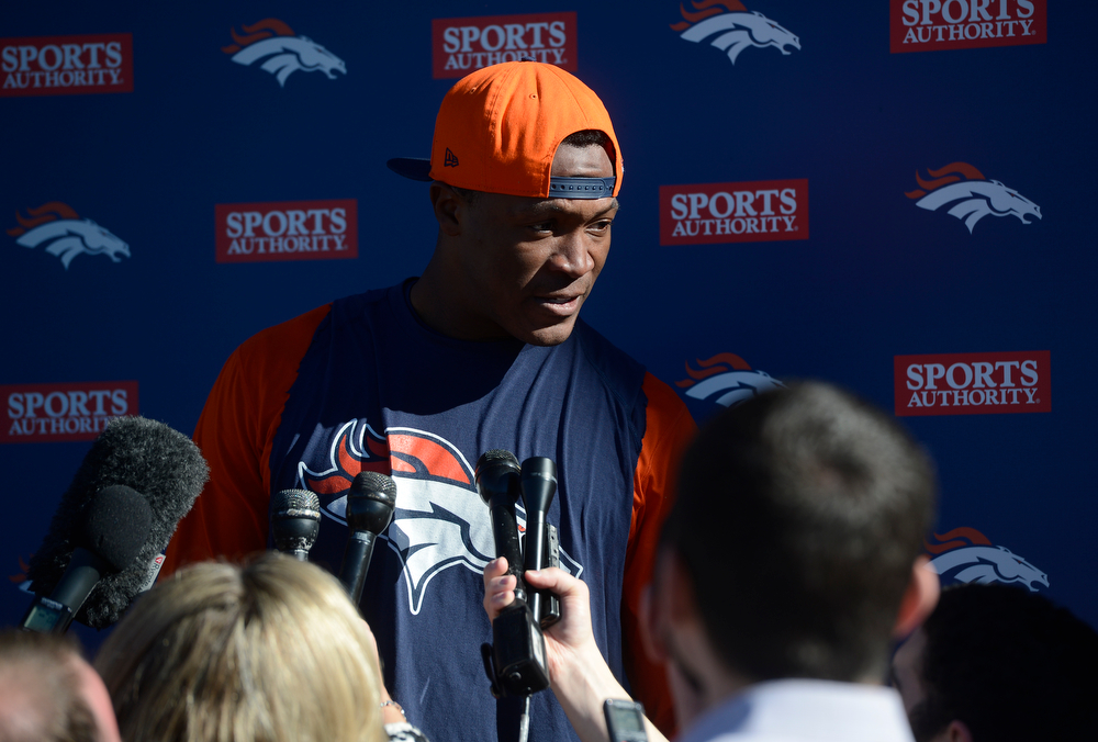 . Denver Broncos WR, Demaryius Thomas, talks to the press after practice at Dove Valley Saturday morning, January 25, 2014. (Photo By Andy Cross / The Denver Post)