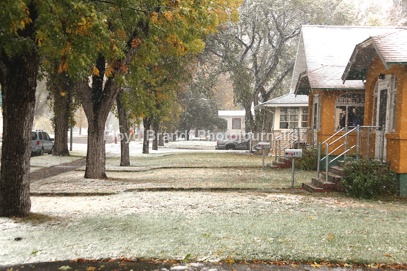 Havre Daily News/Floyd Brandt  Snow begins to fall early in the afternoon as a winter storm come to the Hi-line for the first winter storm of the season Monday, Sept 2, 2017, Havre Montana. By the late evening over 12 inches of snow with high winds will knock out the power affecting most of Northern Montana