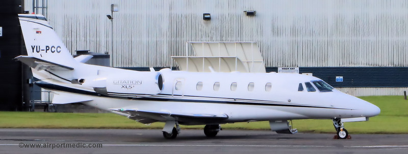 YU-PCC Citation XLS @ Glasgow Airport (EGPF)