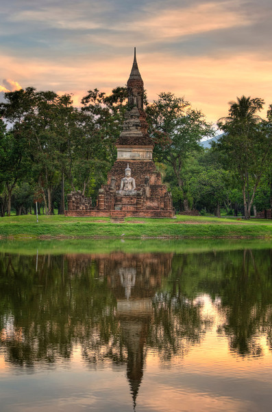 Buddha by the Lake. (Vertical) Sukhotai. Thailand.