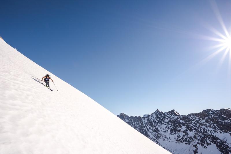 Adam Craig skiing a new line, East Greenland