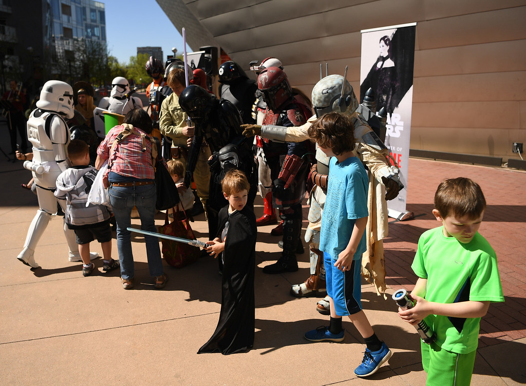 . The Denver Art Museum held a May the 4th Be With You event to kick off ticket sales for the upcoming exhibition, Star Wars and the Power of Costume, opening at the DAM in November, May 04, 2016. Fans were able to take photos with costumed characters from the popular Star Wars dynasty. (Photo by RJ Sangosti/The Denver Post)