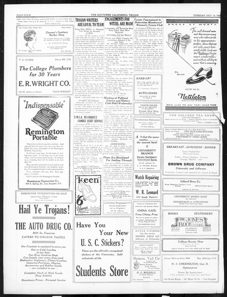 The Southern California Trojan, Vol. 16, No. 11, October 14, 1924