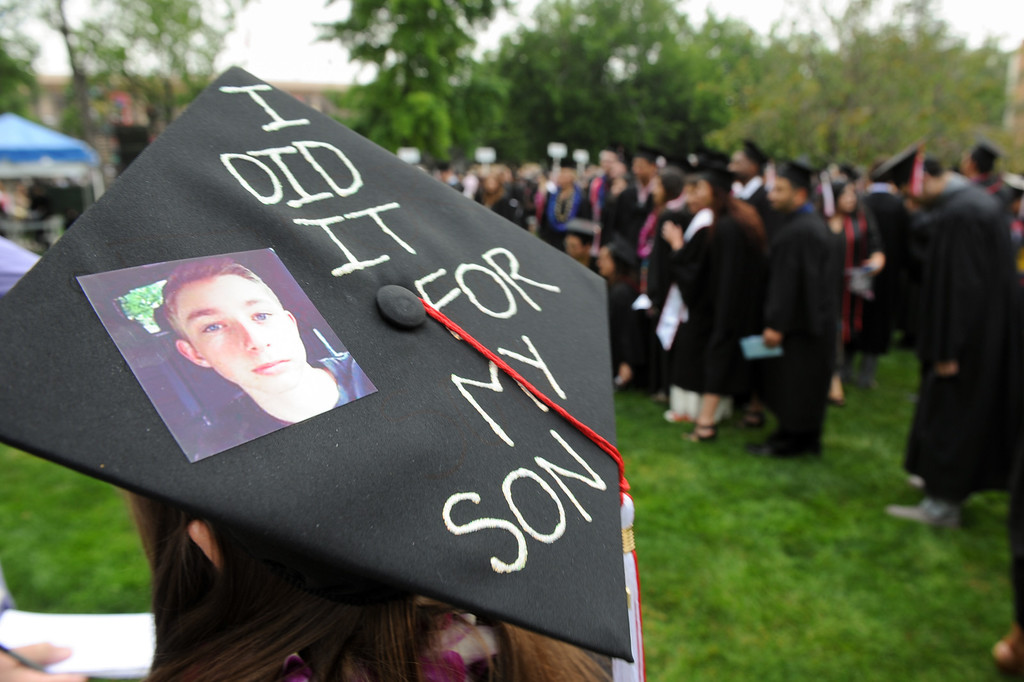 . Cat Russell wears a picture of her son, Nick Russell, on her mortarboard during commencement ceremonies at CSUN, Tuesday, May 21, 2013. (Michael Owen Baker/L.A. Daily News)