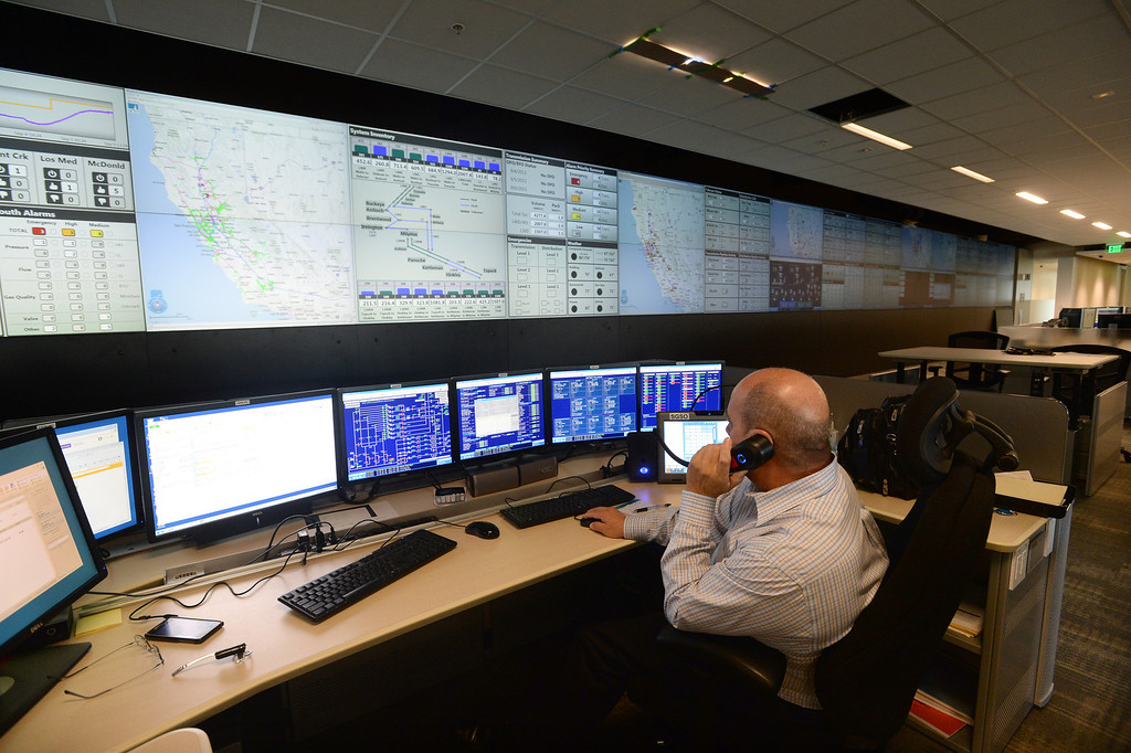 . Gas System Operator Dave Vieira works in the PG&E natural gas system regional primary control center in San Ramon, Calif., on Thursday, Aug. 5, 2013. The new facility controls the service area that stretches from Bakersfield to Eureka. (Dan Honda/Bay Area News Group)