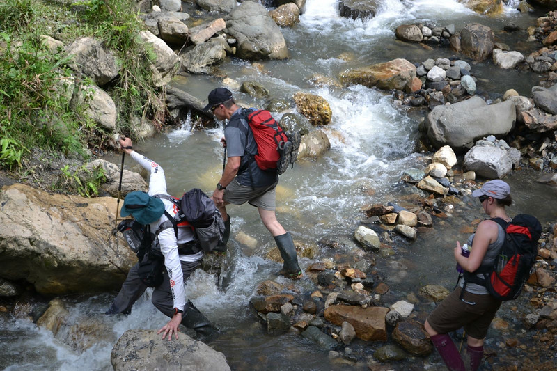 On our trek there were many wild rivers.
