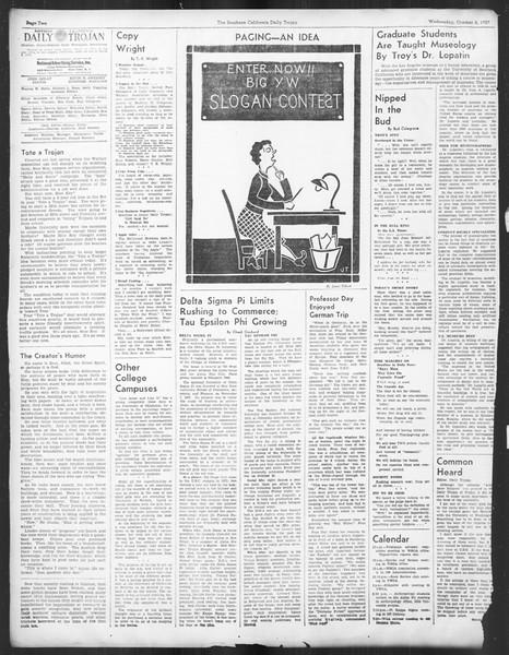 Daily Trojan, Vol. 29, No. 14, October 06, 1937