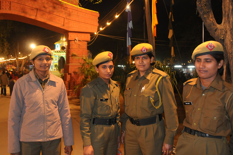 This year the security was tight. Seen here is a group of women police officers/constables at Surajkund Mela. Suraj Kund Mela 2009 held in Haryana (outskirts of Delhi), North India. The Suraj Kund Mela is an annual fair held near Delhi. Folk dances, handicrafts and a lot of fun.
