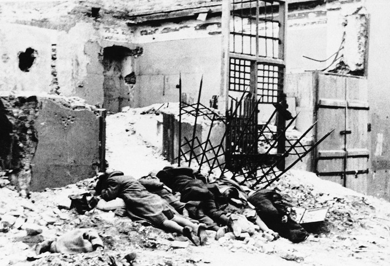 . The dead lie in the ruins of the Warsaw Ghetto in Poland, which was destroyed by the Nazis in the spring of 1943.  (AP Photo)