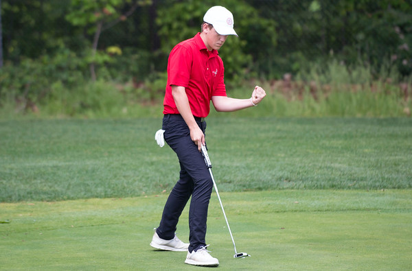 05/29/19 Wesley Bunnell | Staff New Britain golf competed along with Berlin and Goodwin Tech in the Stan Pisk Memorial Golf Tournament on Wednesday afternoon at Stanley Golf Course. Berlin's Matt Czerepuszko.
