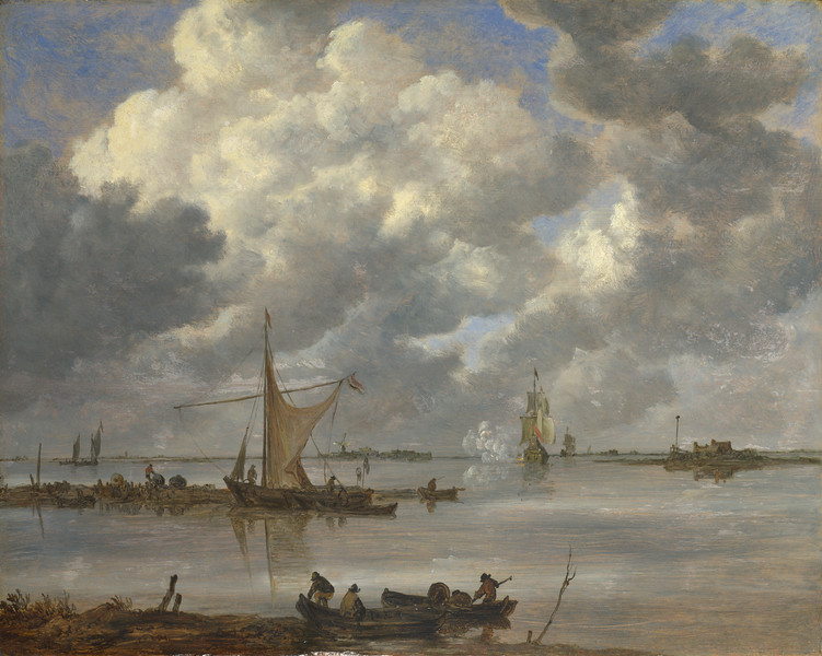 An Estuary with Fishing Boats and Two Frigates