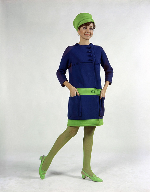 . Of ceramic blue and sun green woolen jersey, worn with hat of sun-green jersey and green stockings, created by Albertina house of Rome, presented at Florence fashions Italian mini-coat, Jan. 18, 1967. (AP Photo/Mario Torrisi)
