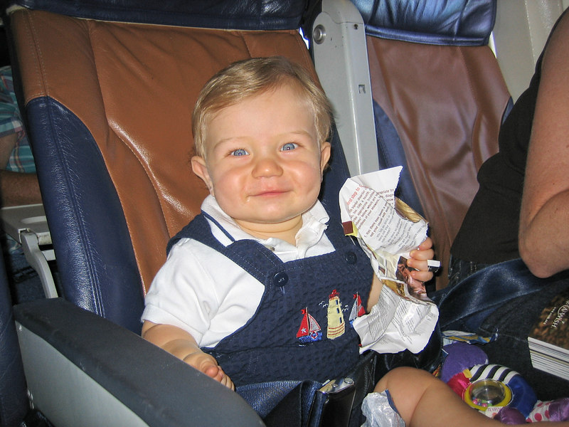 Gabe's first plane ride.