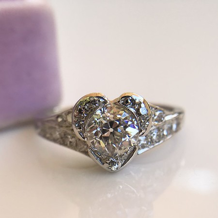 .71ct Vintage Old European Cut Diamond  Heart Motif Ring