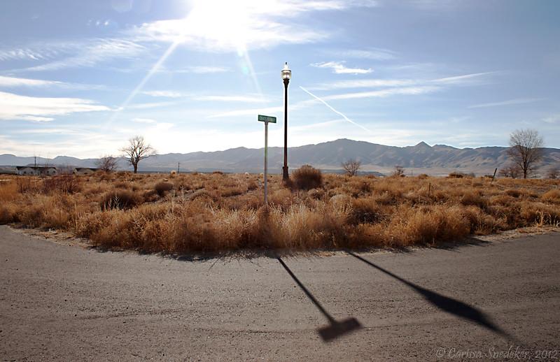 Never-completed housing development just outside Yerington, Nevada.  December 2011.