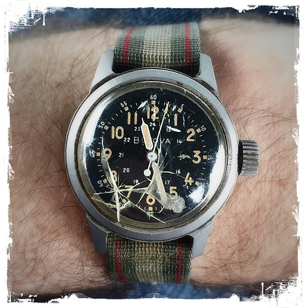 "When your watch of 14 1/2 years (wedding gift from @windycitymomma) stops working the day before a week-long trip, you pull out a reserve: my dad's US #Navy watch from the Korean War. A bit battered but if I wind it, it still works. Even says ""US Property"