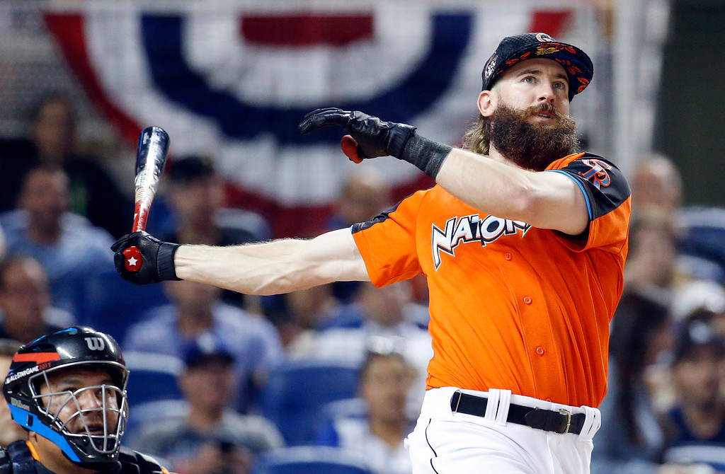 . Colorado Rockies\' Charlie Blackmon competes during the MLB baseball All-Star Home Run Derby, Monday, July 10, 2017, in Miami. (AP Photo/Wilfredo Lee)