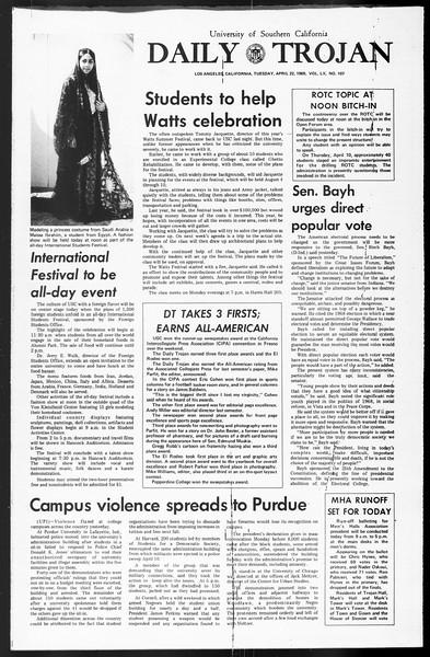 Daily Trojan, Vol. 60, No. 107, April 22, 1969