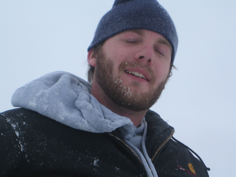 AJ the mountain man.  With frozen beard and all.