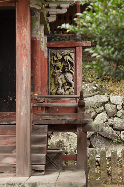 The carved decorations are quite unique like this tiger in an exotic setting.