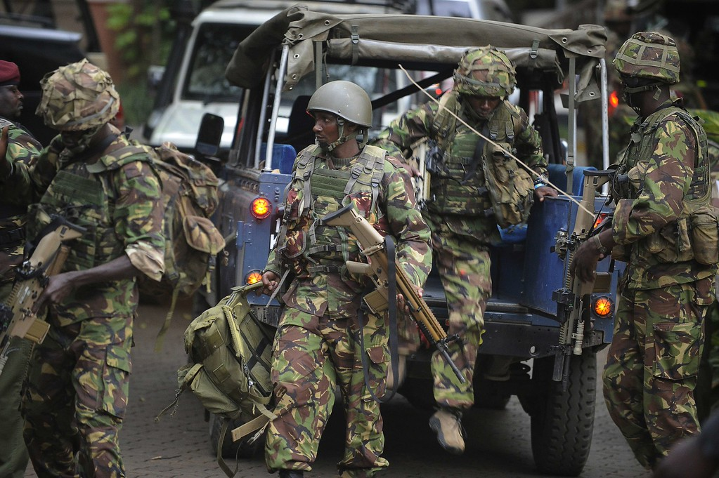 . Soldiers from a special unit arrive outside the Westgate shopping mall in Nairobi, Kenya, on September 21, 2013.   AFP PHOTO / SIMON MAINA/AFP/Getty Images