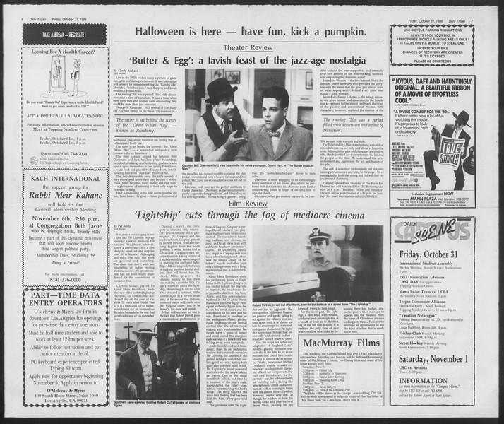 Daily Trojan, Vol. 102, No. 43, October 31, 1986