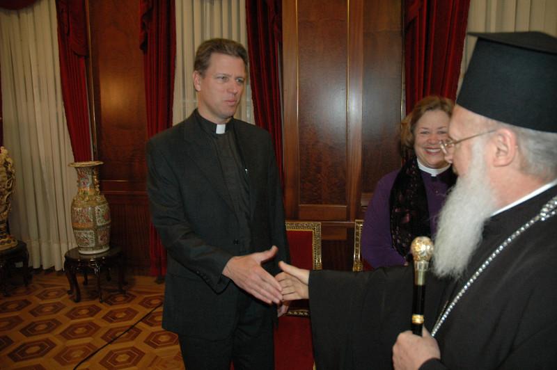 The Rev. Steven Loy, Las Cruces, N.M., ELCA Church Council memeber, greets Ecumenical Patriarch Bartholomew I Feb. 8 in Istanbul.