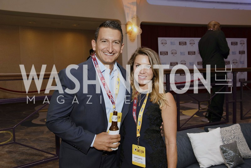 Matt and Lauren Burton. Photo by Yasmin Holman. Redskins Welcome Home Lunch 2019. Washington Hilton. 08.28.19