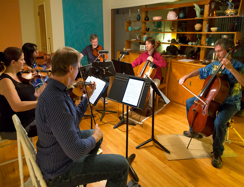 The full sextet playing Brahms