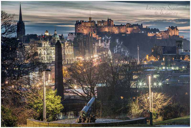 Edinburgh Castle and central Edinburgh from Calton Hill at dusk (03)
