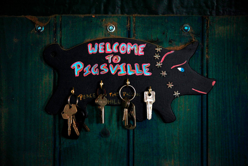 ". A bunch of keys can be seen on the wall of farmer Lindy Haynes house on her property known as ""Pigsville\' in the New South Wales town of Mudgee, located 250 km (155 miles) west of Sydney March 2, 2013. Haynes believes that all farm animals should be \'free range\', and allows the pigs, chickens, cats and dogs on her farm to move freely in and out of her house, with most sleeping inside at night. Picture taken March 2, 2013.    REUTERS/David Gray"
