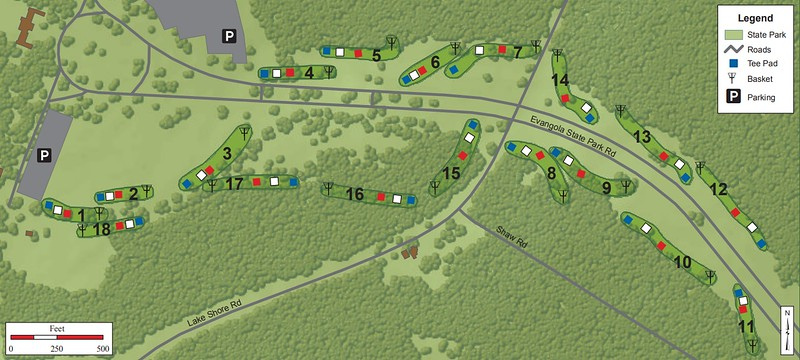 Evangola State Park (Disk Golf Course Map)
