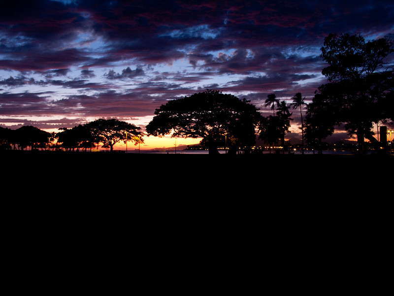sunset at Ala Moana Park