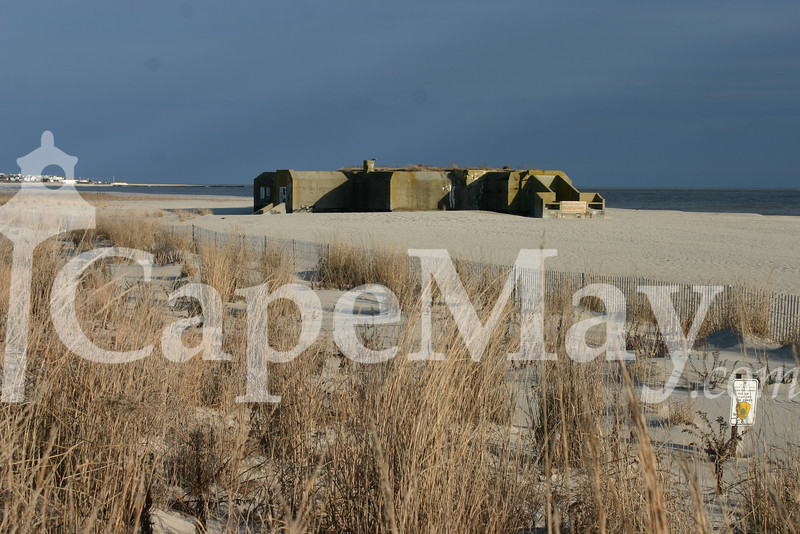 The resiliant Concrete Bunker at Cape May Point State park beach.jpg