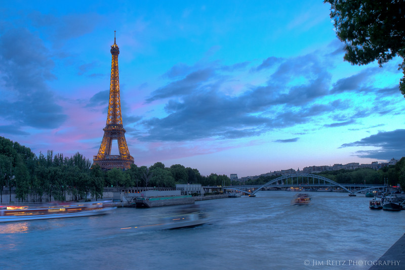 Eiffel Tower just after sunset, view from Pont de L'Alma.