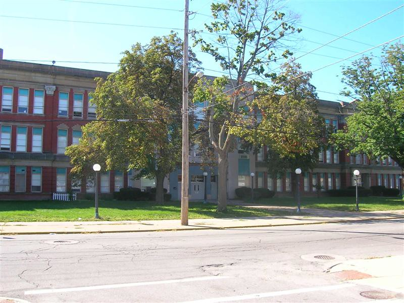 . Historic photo provided by Jim Smith <br> Once known as the second Lorain High School, this building was called Lorain Middle School in 2005 when it closed. This photo was taken then.