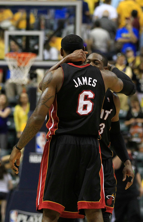 . Miami Heat\'s Dwyane Wade (3) and LeBron James (6) during the second half of Game 4 of their NBA basketball Eastern Conference semifinal playoff series against the Indiana Pacers Sunday, May 20, 2012, in Indianapolis. Miami defeated Indiana Pacers 101-93.  (AP Photo/Darron Cummings)