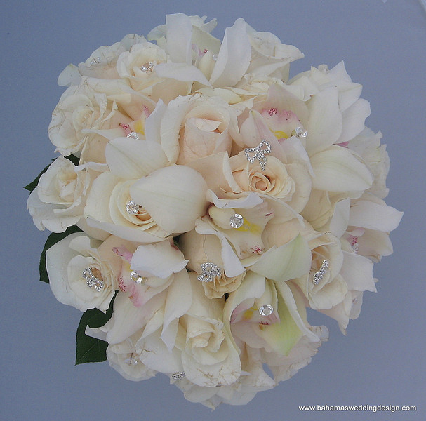 White rose and cymbidium orchid bouquet with rhinestone accents