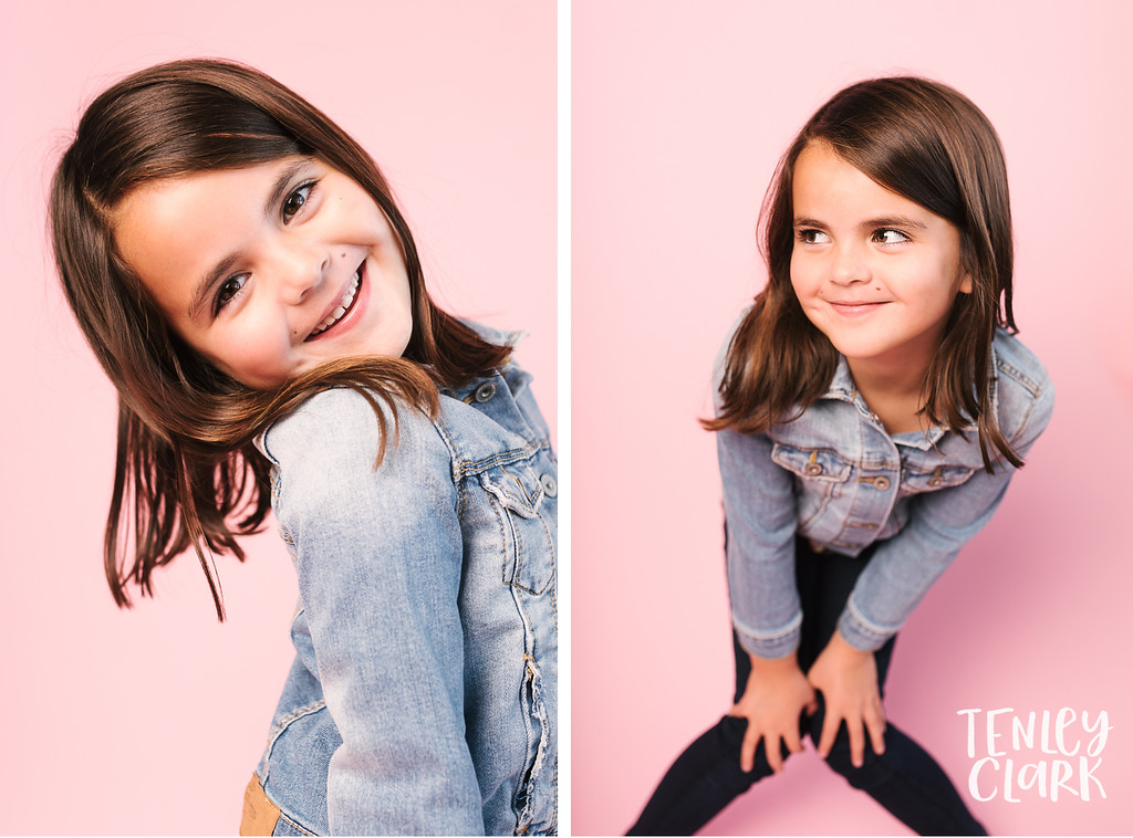 Headshots of Charlotte for JE Kids on pink Savage seamless backdrop at studio in San Jose, CA by Tenley Clark Photography.