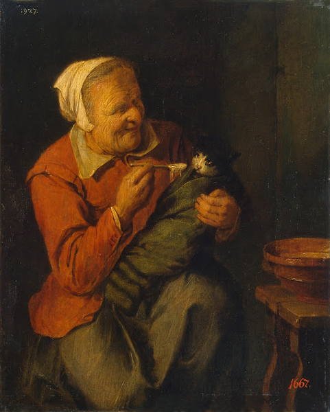 1640-42 David Rijckaert III Peasant Woman with a Cat oil on canvas 35 x 28 cm Hermitage Museum, St Petersburg, Russia.jpg
