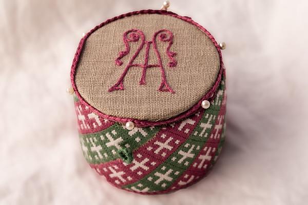 Pincase, Apron, and Round Box