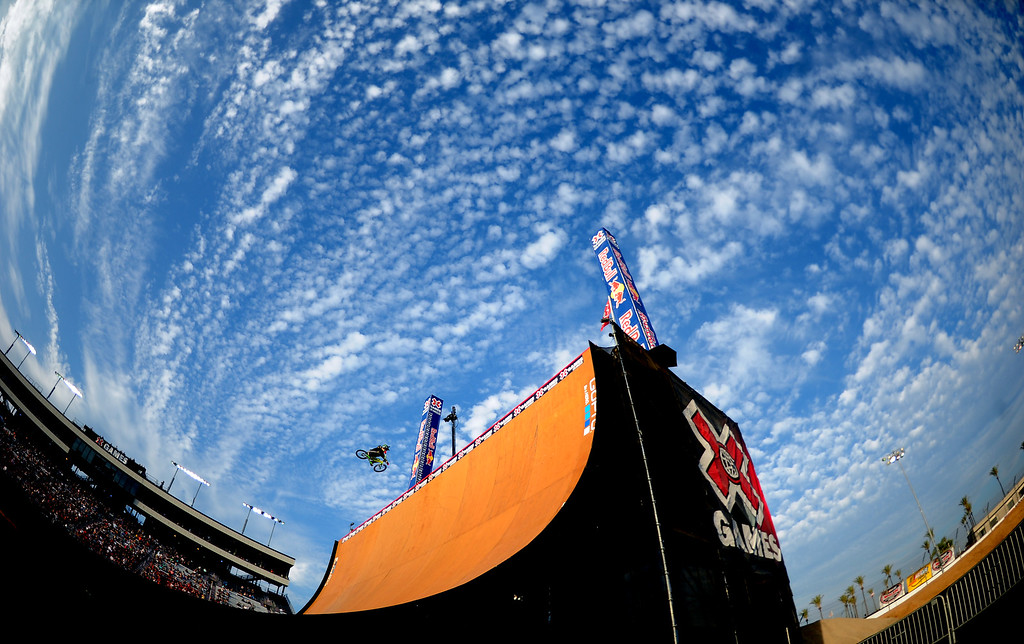 . Andy Buckworth performs during the GoPro BMX Big Air Final at Irwindale Speedway on Friday, Aug. 2, 2013 in Irwindale, Calif. Morgan Wade won the gold medal.  (Keith Birmingham/Pasadena Star-News)