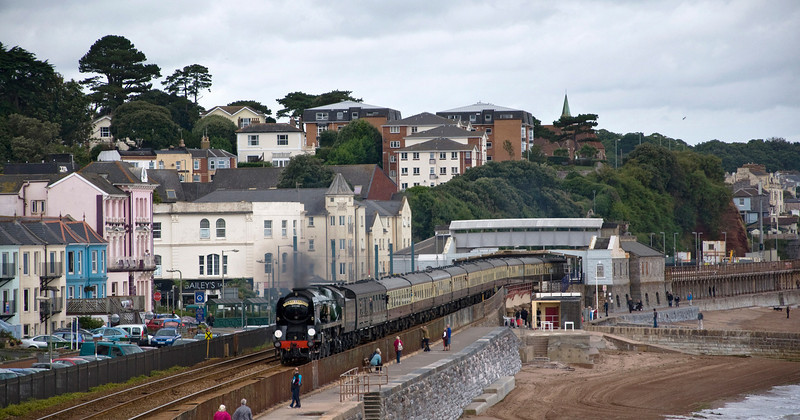"34046 ""Braunton"". A West Country Class former Southern Region steam engine heads the 07:55 Bristol Temple Meads to Kingswear special through Dawlish Station."