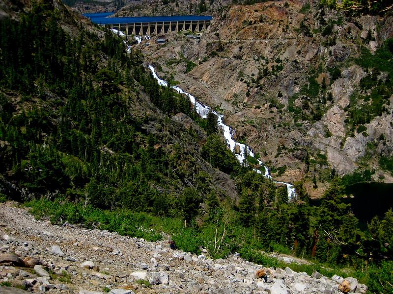 Gem Lake dam and Rush Creek. See map Green line