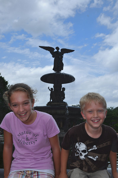 """Mitchell shouts """"my bump is burning"""" just before I shot this picture at the Bathesda Fountain in NYC."""